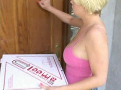 blonde girl with pizza