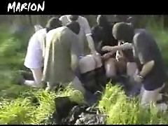French Slut gets Gangbanged Outdoor