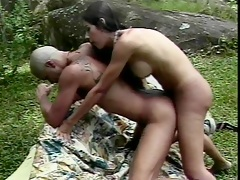 Brunette shemale & dude sucking & fucking each other