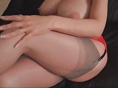 big boobs red dress lady