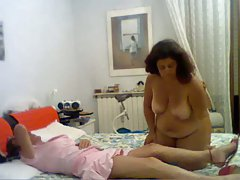 Plump wife fucks her husband with strap-on!