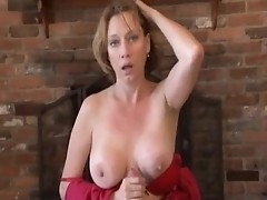 Mature mom moans while giving head and handjob