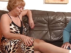 Sprained Ankle Granny Sprains a Cock