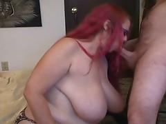 Hot Curvy Redhead Smoking BJ
