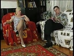 Blonde Mature Teases Till She Gets His Penis
