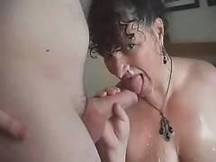 M I L F  gets facial from her stud