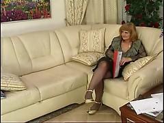 Mature Milf in Stockings Sucks and Fucks