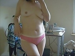 Funny streptease and close-up hairy pussy