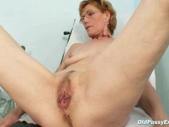 Classy old lady Mila needs gyno clinic examination