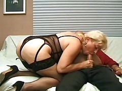 Blonde Anal Milf in Fishnets Fucks
