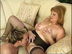 Mature Milf in Stockings Sucks and Fucks