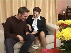 English Granny In Stockings Takes Younger Dick
