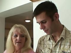 Blonde Granny in White Stockings Fucks