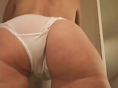Sexy ass and hairy pussy in white sheer panties
