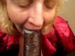 MILF bitch slurps & gobble down a creamy load