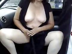 Masturbation of my horny slut in a parking area