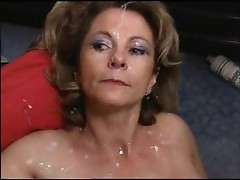 50+ mature get gangbanged and swallows cum