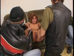 Older slut banged by 3 guys