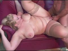 Fat blonde Zazi sucks a dick