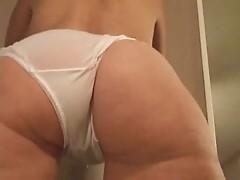 Hot milf ass in white sheer panties