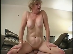 Blonde Granny Gets A Facefull