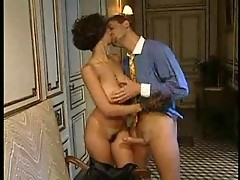 Curly brunette milf with nice boobs gets hairy pussy fucked then sucks dick