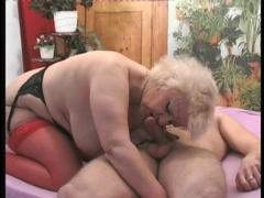 Sexy mature blonde strips off red lingerie and than hard fucked by young boy