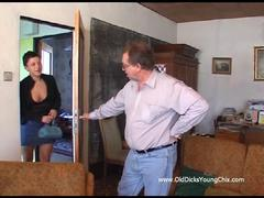 Hot nerd mom in red mask loves to fuck by older man