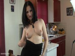 Milf in sexy black dress get toying her pussy