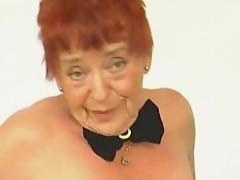Hairy Redhead Granny Fingered