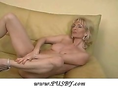Mature, Mom, Milf, Housewife blonde plays with herself