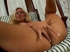 Horny blonde milf Amber Lynn sucks dick and gets it into her pussy on POV video