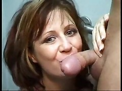 Playful milf begins sucking big dick just to get a cumshot on her face finally