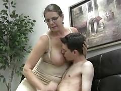 Busty girl jerks skinny guy