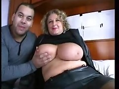 Mature bbw chick gets pussy and mouth fucked by a couple of horny men
