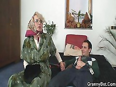 Old bitch sucks his cock