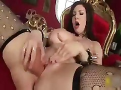 Big busty Goth babe is sliding that dildo into her wet slit