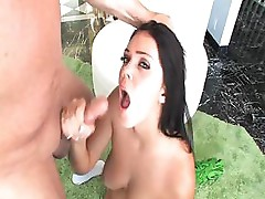 Alison Tyler plays with her tits and sucks on this hard cock