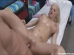 Nasty massage for Haley Cummings' tight beautiful cunt and massive juggs