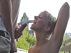 Beautiful Blonde Girl Fucks Outdoor