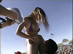 Hot blonde Mardi Gras has sex outside at the beach and a hard cock