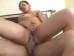 Latina gulps that cock down and gets fucked while using toys