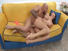 Porm model Alison Star and Barry Scott get in some fucking on the couch