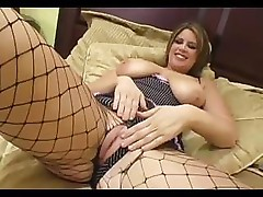 Babe with big boobs has two black cocks and gets an anal fuck