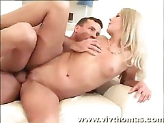 Blonde babe fucks this guy with passion and then sucks his dick