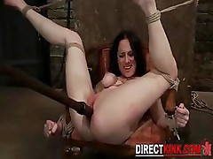 Pretty Sexy Brunette Gets Hogtied Up