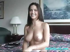 Jazmin slips off her clothes and gives a show of her body on video