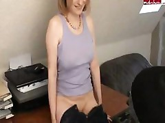 Cute blonde slut gives fantastic blowjob
