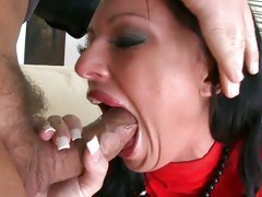 Gorgeous Kerry Louise takes a hard throat fucking