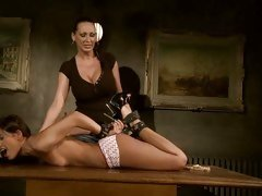 Mandy Bright feeling horny tying a hot babe on table